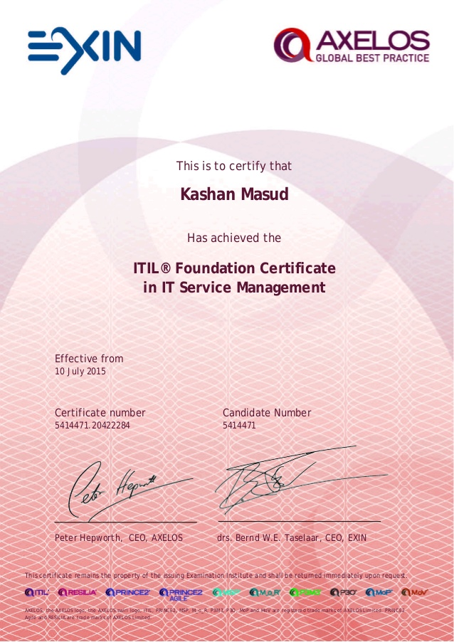 Certifications Kashan Masud